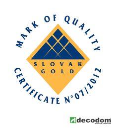 Certifikát Slovak GOLD - Ocenenie našich kuchýň DECOplan za ich kvalitu a špecifické vlastnosti.