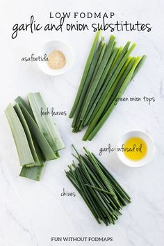 Missing garlic and onion on the low FODMAP diet? Click through to learn about five garlic and onion substitutes that can help you add garlic and onion flavor without the FODMAPs. Fodmap Recipes, Diet Recipes, Healthy Recipes, Easy Recipes, Recipes For Ibs, Onion Recipes, Fruit Recipes, Recipes Dinner, Dieta Fodmap