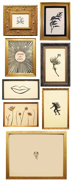black and antique white art in gold frames.