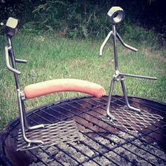 juvenile but funny. Welding Art Projects, Welding Crafts, Metal Art Projects, Metal Crafts, Car Part Furniture, Metal Furniture, Bbq Grill Diy, Smoking Cooking, Camping Cooking Set