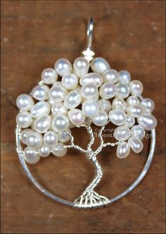Wedding Jewelry Bridal Necklace Tree of Life Pendant Freshwater Pearl Woodland Weddings Wire Wrapped Tree Ivory Pearl Mother of the Bride - Freshwater Pearl Wedding Tree of Life by PhoenixFireDesigns - Wire Wrapped Jewelry, Wire Jewelry, Jewelry Crafts, Beaded Jewelry, Handmade Jewelry, Pendant Jewelry, Jewellery, Tree Necklace, Bridal Necklace
