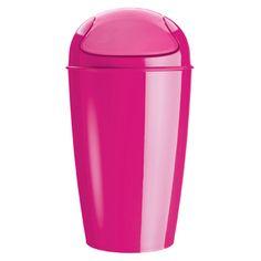 Koziol Plastic XL Del Swing-Top Basket Pink | Quill.com