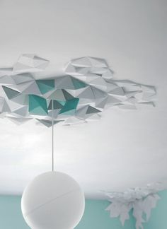 un Origami . The Fundamental Group : Rhombus Tiles System Ceiling Rose, Ceiling Tiles, Ceiling Design, Origami And Kirigami, Diy Origami, Origami Wall Art, Geometric Origami, Origami Templates, Box Templates