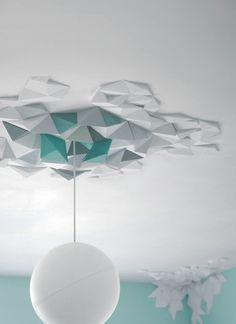 un Origami . The Fundamental Group : Rhombus Tiles System Diy Origami, Origami And Kirigami, Origami Wall Art, Origami Templates, Box Templates, Ceiling Rose, Ceiling Tiles, Ceiling Design, Rhombus Tile