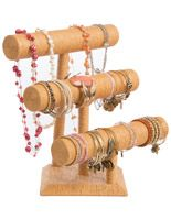 Jewelry Display with 3 T-Bars for Bracelets and Chains, Paper Twine - Natural
