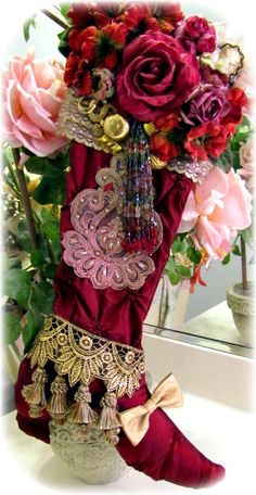 Opulent Victorian Splendor Stocking Burgundy-Victorian, Beaded, Opulent, Classic, High-End, Pearls, Lace, Jewels, Vintage, Pillows, Shades, Stockings, Lamps, Lighting, Exclusive, Original, Hand-Crafted, USA,