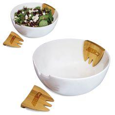 Picnic Time NFL NFC Teams Romano Salad Bowl with Bamboo Servers (Carolina Panthers), Tan (Porcelain)
