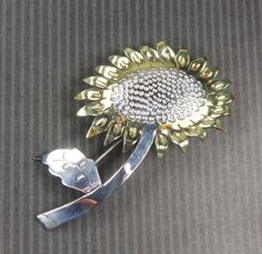 Vintage Sunflower Sterling Silver Pin Taxco by BelmarJewelers