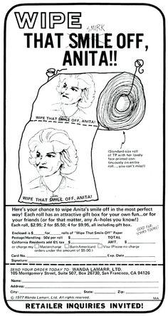Anita Bryant protest toilet paper, 1977