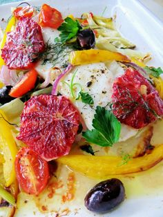 Baked Cod with Blood Orange, Fennel and Olives.