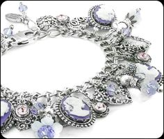 In my charm bracelet shop you will find a large selection of Cameo charm bracelets, Amethyst Bracelets, Flower Jewelry, as well as wedding,