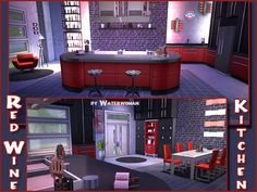 Akisima Sims Blog: Red Wine Kitchen • Sims 4 Downloads
