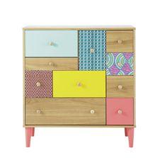 Cabinet de rangement imprimé en bois multicolore L 84 cm