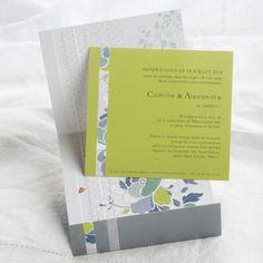 """Faire-part de mariage Editions Créatives EC-M075, Faire-part de mariage gris et vert pomme thème """"Hampton"""" Mariage-Faire-Part.fr"""