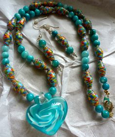 Turquoise Paper Bead and Glass Bead Necklace with Heart Pendant and Matching Earrings - pamboni