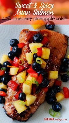 Sweet and spicy sauce and marinade of apricot preserves, soy sauce, rice vinegar, sesame oil, ginger, garlic, brown sugar and sriracha paired with fresh pineapple blueberry salsa. LOVE these layers of flavors!