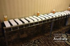 """The table cards await the guests. Love the use of butterscotch candies and marshmallows to create """"beer mug"""" decorations. Wedding Dj, Wedding Reception, Butterscotch Candy, Photo Booth Props, Table Cards, Chicago Wedding, Marshmallows, Candies, Brewery"""