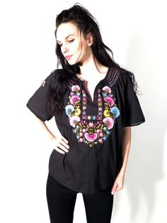 Vintage Black Cotton Mexico Frida Style Floral Hand Embroidered Top Blouse by Ramaci