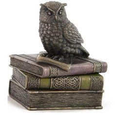 Not only is this owl the studious type, but it happens to be quite the guardian, too. After all, it would have to be if you are going to entrust this Bronze Scops Owl on Books Trinket Box with any of your belongings. Wildlife Home Decor, Owl Home Decor, Book Jewelry, Owl House, Owl Art, Nature Decor, Metallic Colors, Trinket Boxes, The Guardian