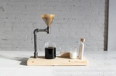 DIY Pour Over Coffee Maker. learn how to make this pour over coffee maker out of iron pipe. Pour Over Coffee Maker, Coffee Maker Reviews, Espresso Machine Reviews, Best Coffee Maker, Coffee Shop, Coffee Girl, Homemade Modern, Coffee Maker Machine, Beton Design