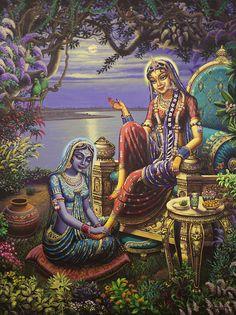 Featured Art - Krishna disguised as gopi by Vrindavan Das Lord Krishna Images, Radha Krishna Pictures, Radha Krishna Photo, Krishna Art, Radhe Krishna, Jai Shree Krishna, Ganesha Art, Immaculée Conception, Krishna Lila