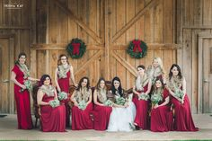 Christmas Winter barn wedding.  bridesmaids.  We love all the lovely winter touches they used for their special day.  From vintage lounge areas with plaid to antlers and greenery to lawn games.  Photos by Trisha Kay Photography by rentmydust.com.