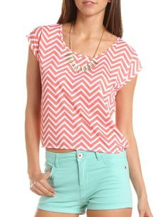 Chevron pink Stripe Tie-Back Tee with mint-turquoise shorts