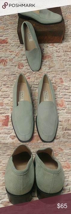 NWOB Enzo Angiolini Suede Loafers 8.5 Gorgeous Seaglass suede leather loafers made in Brazil. Women's 8 1/2 medium. Non-skid heel. Mint, Seafoam Green shoes, flats Enzo Angiolini Shoes Flats & Loafers