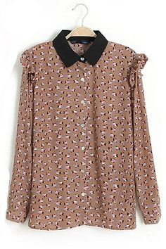 RoseandPose AW13 NEW IN Brown Long Sleeved Fish Patterned Shirt