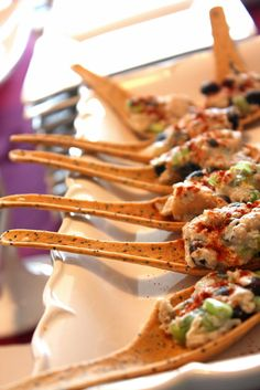 chicken salad served on edible spoons