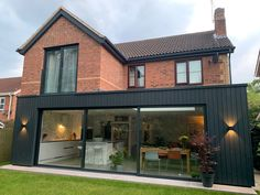 Rear Kitchen Extension with Timber Cladding Brick Extension, House Extension Plans, Single Storey Extension, House Extension Design, Extension Designs, Living Room Extension Ideas, House Design, Open Plan Kitchen Dining, Open Plan Living