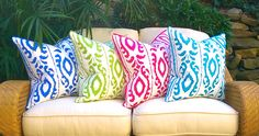 NEW Vibrant Bold Patterns for our Palm Beach Collection!  Coming Next Month at Coastal Home Pillows
