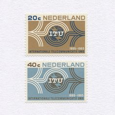 I.T.U Centenary (20c/40c). Netherlands, 1965. Design: Gerard Wernars. #mnh #graphilately