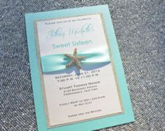 ocean themmed sweet sixteen | Tiffany Blue and Gold Sweet 16 Invitation, Glitter, Starfish, Bat ...