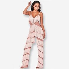 84ca4ca48e4 Yissang Pink Red Tassel Long Backless Jumpsuits For Women 2019 Spaghetti  Strap Summer Womens Rompers Sexy