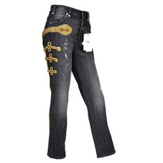 Pre-owned DOLCE & GABBANA D&G BEADED AND EMBROIDERED MILITARY JEANS