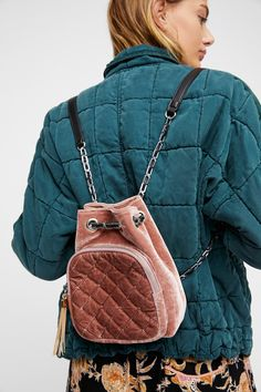 Mauve Quilted Chain Backpack at Free People Clothing Boutique