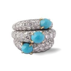 CARTIER. A turquoise and diamond ring. ca. 1960