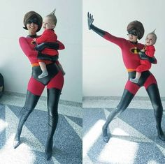 Disney Cosplay It's not often that you see a genuinely great baby cosplay but this is incredible. Elastigirl by and Jack-Jack Baby Cosplay, Disney Cosplay, Cosplay Kids, Epic Cosplay, Amazing Cosplay, Cosplay Outfits, Halloween Cosplay, Halloween Diy, Halloween Costumes