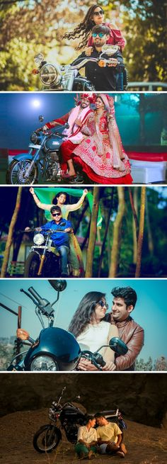 Best Love Story Photoshoot Ideas motorbike, Love Story Couple Photosets, Love in the Motorcycle WeddingNet #weddingnet #motorbike #lovestory #indianbride #indianwedding #preweddingshoot #preweddingideas #prewedding #gown #pink #blue #suit #candid