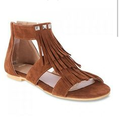 """Fringe sandal Minimal heel with studs and fringe detail. Man made suede. Zip back. For a foot length of 9.83"""". threadz  Shoes Sandals"""