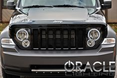 2012 Liberty halo lighting dark out, lower chrome guard and matte color match grille Jeep Suv, Jeep Cars, Jeep Truck, 2010 Jeep Liberty, Jeep Liberty Sport, Jeep Commander, 4x4, 2013 Jeep, Suv Trucks
