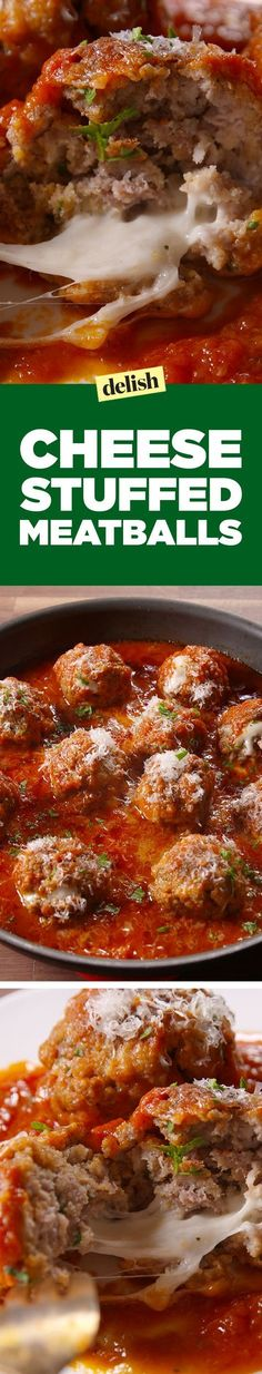 These Cheese-Stuffed Meatballs are an Italian dinner dream come true. Get the recipe on Delish.com.