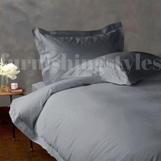 GREY COLOUR T200 EGYPTIAN COTTON FITTED SHEETS FLAT SHEETS PILLOW CASES