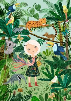 Jungle Girl...Giclee print of an original by DrawnByRebeccaJones                                                                                                                                                                                 More