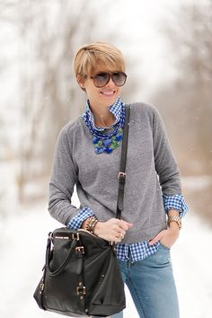 Casual: pink gingham.  Need pullover sweater and statement necklace?.   Could also be work with non-jeans, tan cords, red pants?