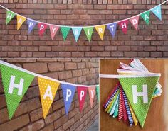 Happy Birthday Bunting -perhaps reversible a pink fabric side for the girl and a blue fabric side for the boy?