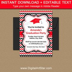 Black And White Graduation Invitation Printable College