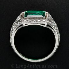 Exquisite Art Deco Emerald and Diamond Ring - 30-1-5519 - Lang Antiques