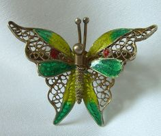 China Silver Brooch Enameled Butterfly 1930s Art Deco Period Antique Jewelry 800 Silver. $75.00, via Etsy.